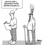 cartoon emphasising the danger of working with electricity