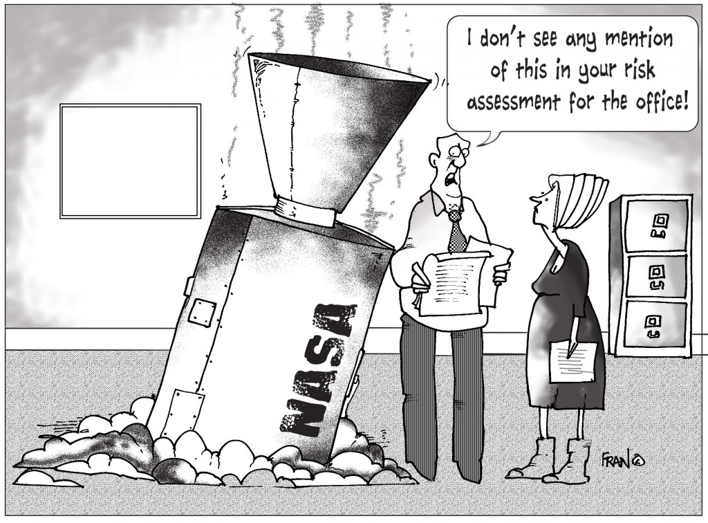 Cartoon outlining the difficulties of risk assessment